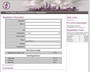 registration form golf